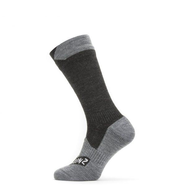 Waterproof All Weather Mid Length Sock - Black/Grey