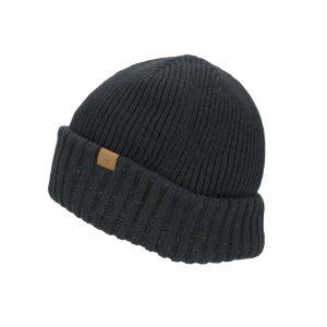 Waterproof Cold Weather Roll Cuff Beanie Hat - Black
