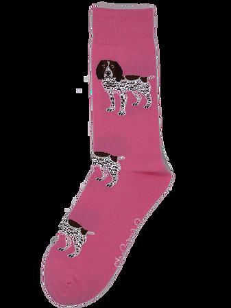 Shuttlesocks Pink Brown and White Spaniel Socks
